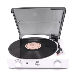 GPO Stylo II Vinyl Stereo Record Player - White